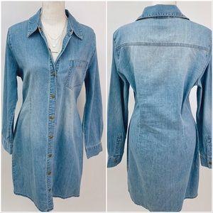 Moda Int'l Long Sleeve Plus Size Denim Shirt Dress